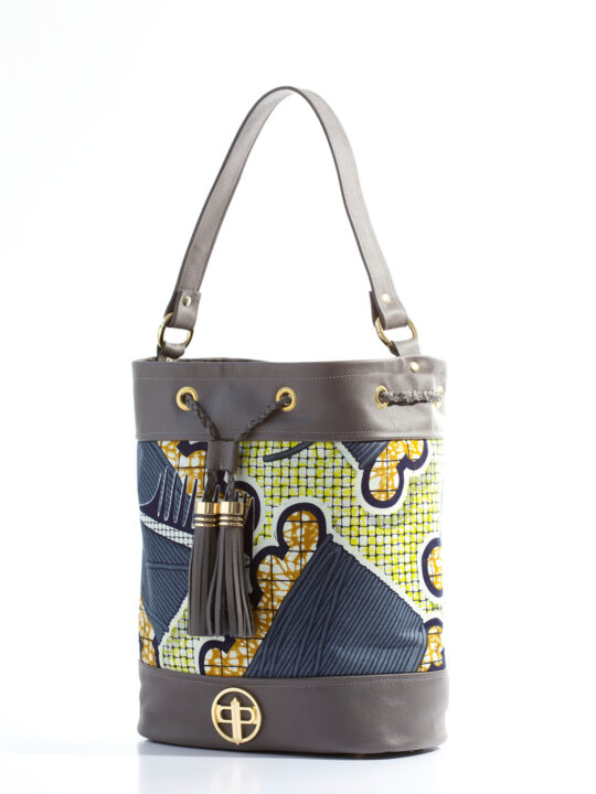 Grey Leather with thread & comb Ankara print2