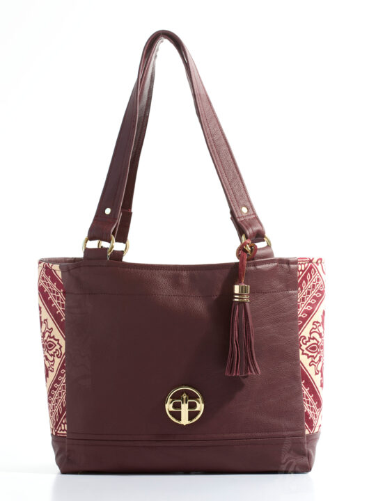 Prince Pearl Burgundy Leather with cotton Ankara print1