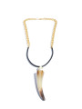 Prince Pearl Cow Horn on Chain & Leather Rope