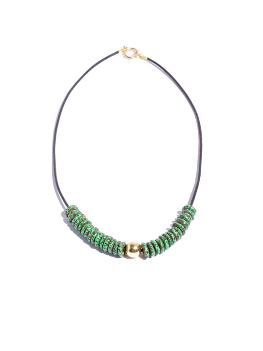 Prince Pearl Green Krobo Beads on Leather Rope