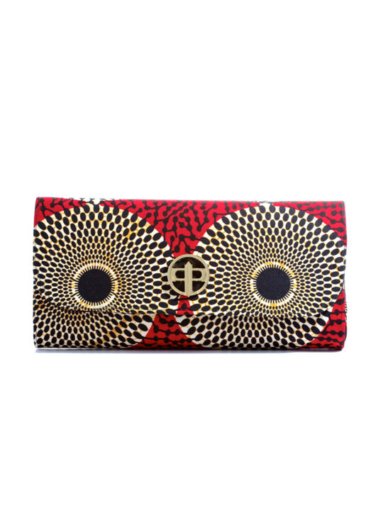 Prince Pearl Red with Circle Ankara Print with black woodine 1