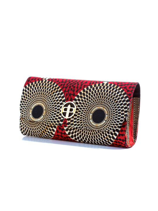 Prince Pearl Red with Circle Ankara Print with black woodine 2