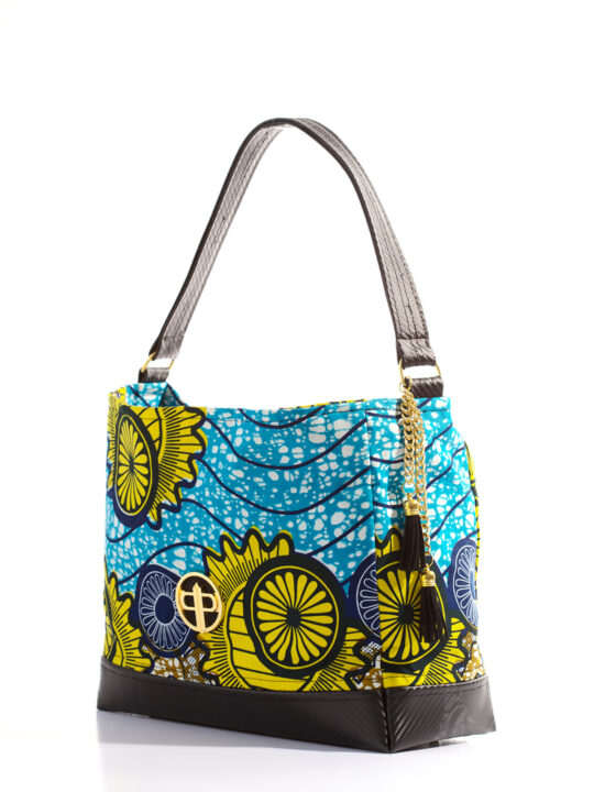 PrincePearl Blue & Yellow Wheel Ankara Print with Black PVC