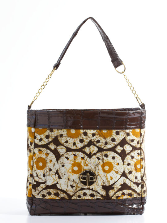 PrincePearl Brown & tan batik with brown Mock Croc 1