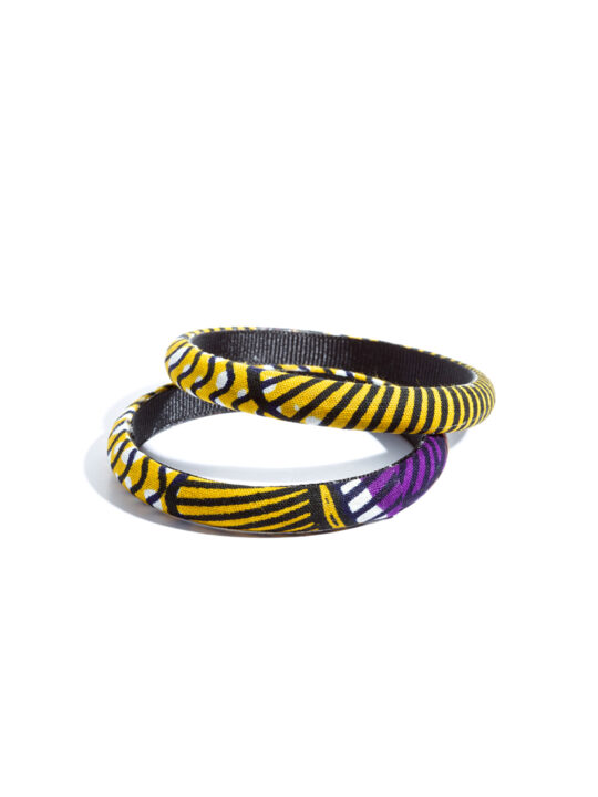 Purple and yellow multi colored Ankara print