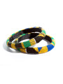 Yellow, black and blue Kente