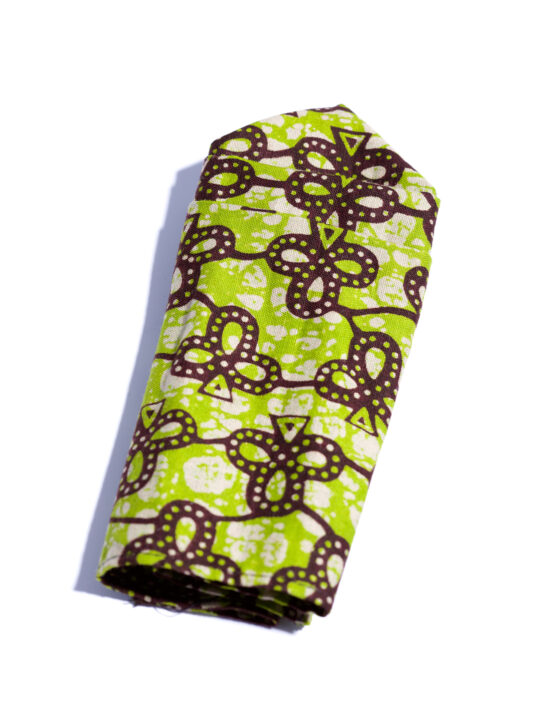Prince Pearl Green & Brown Ankara print