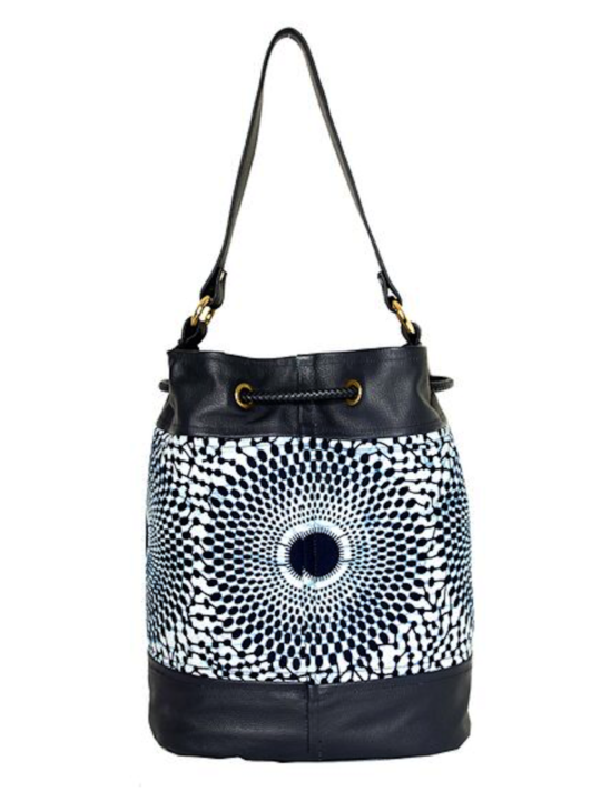 Navy Record Print Bucket Bag Back