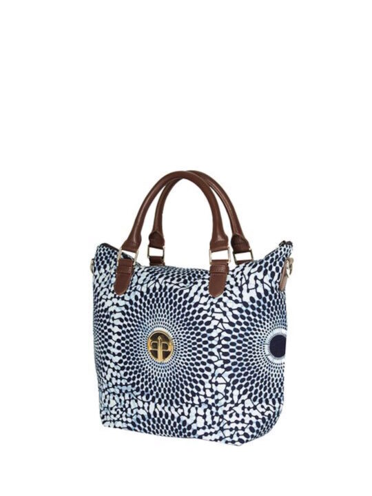 Navy Record Print Mini Tote Side
