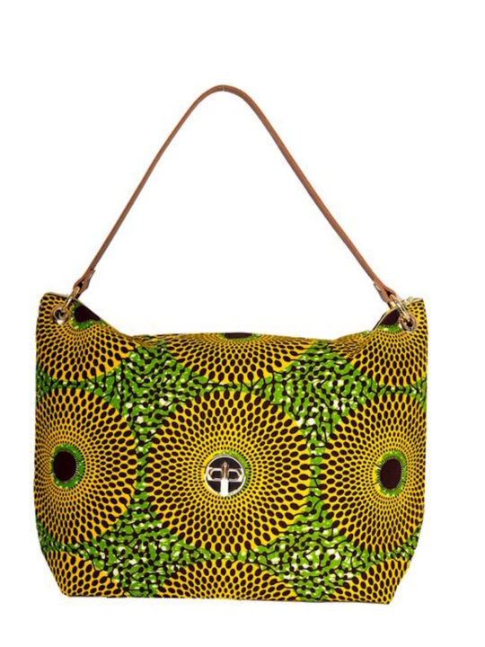 Yellow Record Print Oversized Tote Front