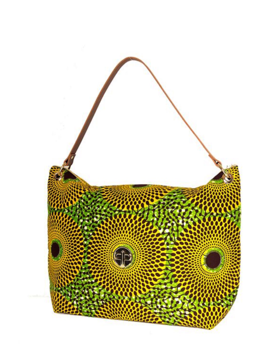 Yellow Record print oversized tote side2
